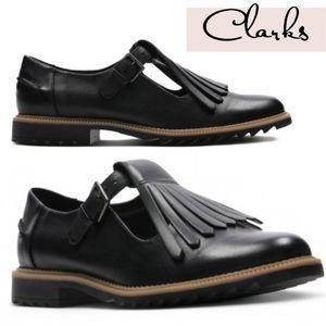 Clarks Griffin Mia maryjane fringe loafer flat 8